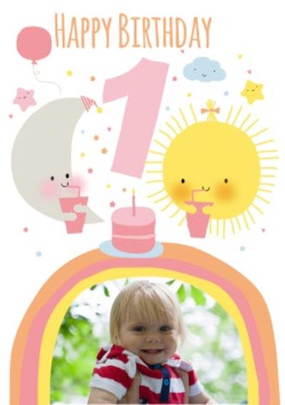 Cute Sun And Moon Personalised Photo Upload Happy 1st Birthday Card
