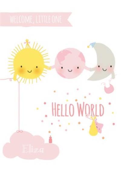 Cartoon Stars And Moon Hello World New Baby Card
