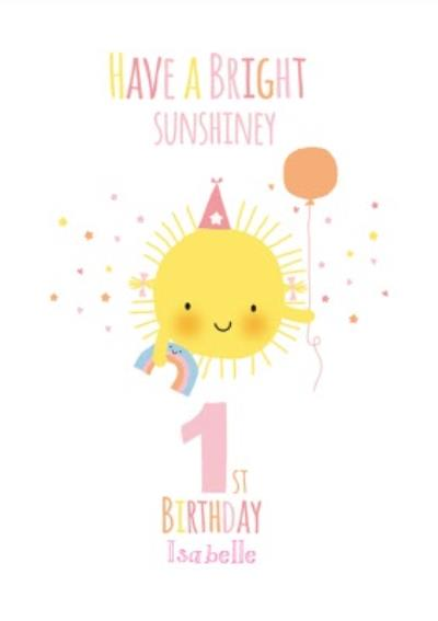 Cute Sunshine Bright Personalised Happy 1st Birthday Card