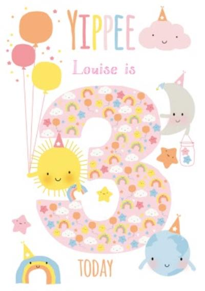 Cute Sun Cloud Rainbow Moon World Personalised Happy 3rd Birthday Card