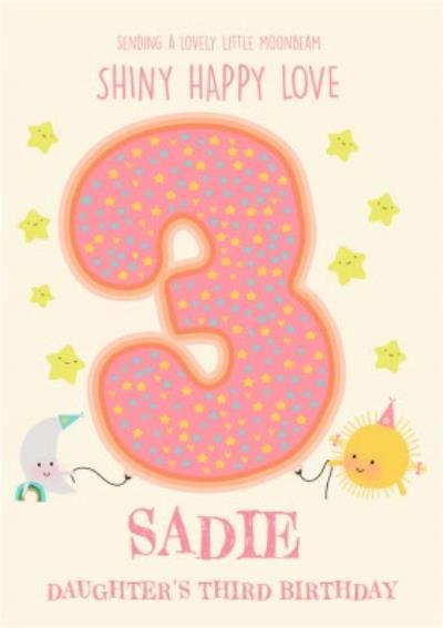 Cute Sun Cloud Rainbow Moon Stars 3rd Birthday Card For Daughter