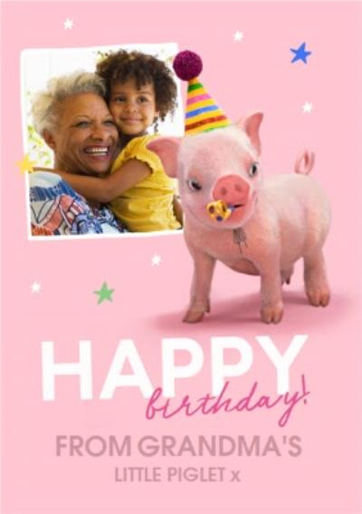 Moonpigs Dinosaur Pig From Grandma's little Piglet Photo Upload Bithday Card