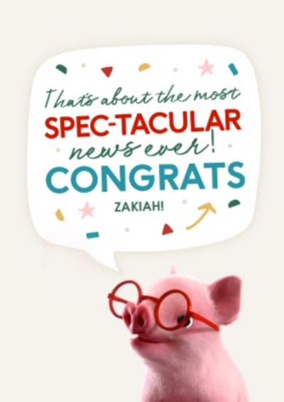 Moonpigs Clever Pig Spectacular News Congrats Card