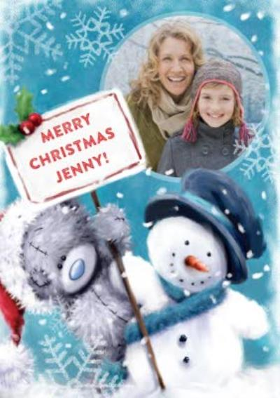 Tatty Teddy With Snowman Snowflakes Personalised Photo Upload Merry Christmas Card