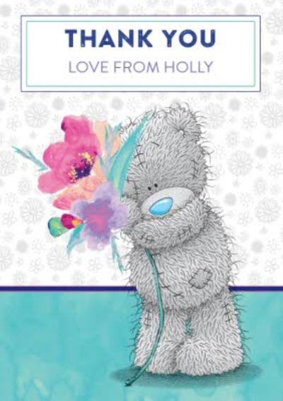 Tatty Teddy With Bouquet Personalised Thank You Card