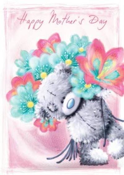 Mother's Day Card - Tatty Teddy with bunch of flowers