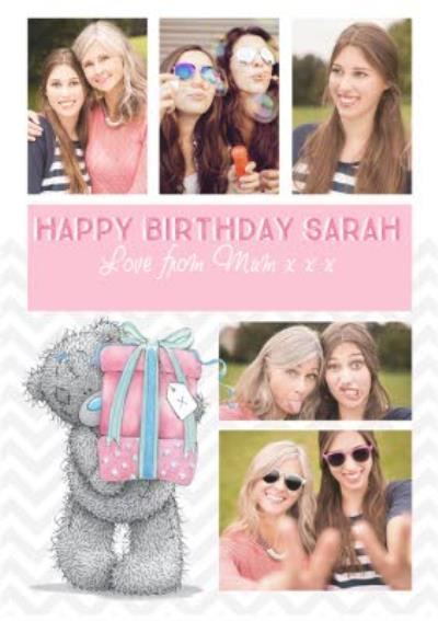 Tatty Teddy With Gift Personalised Multiple Photo Upload Happy Birthday Card