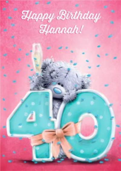 Tatty Teddy Confetti And Champagne Personalised 40th Birthday Card