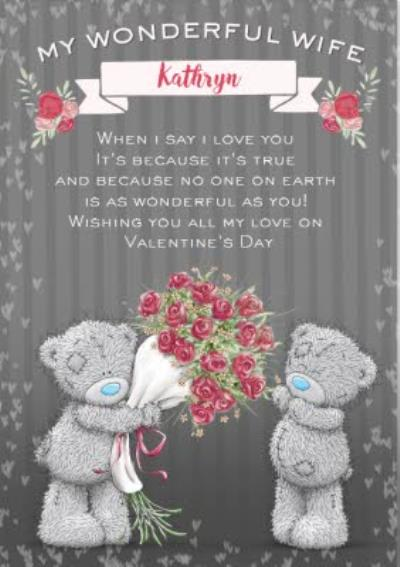 Tatty Teddy To My Wonderful Wife Personalised Card