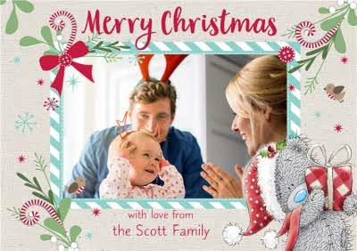 Me To You Tatty Teddy Candy Cane From The Family Photo Upload Christmas Card