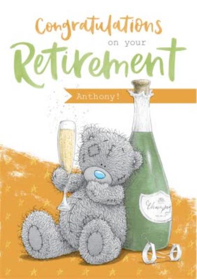 Me To You Tatty Teddy Champagne Retirement Personalised Card
