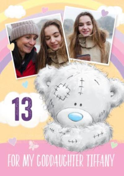 Cute Tatty Teddy Birthday Card - Goddaughter - Photo Upload