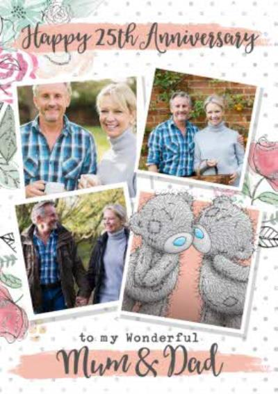 Me To You Tatty Teddy 25th Anniversary Photo Upload Card for Mum & Dad
