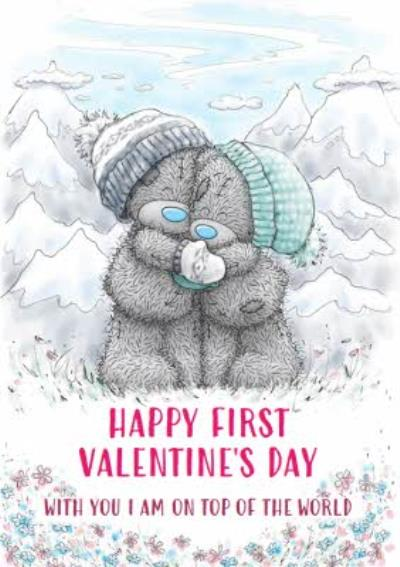 Me To You Tatty Teddy First Valentine's Day Top Of The World Card