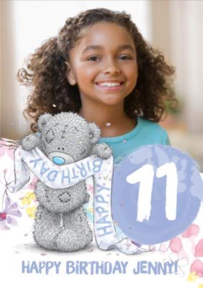 Cute Tatty Teddy 11th Birthday Photo Upload Card