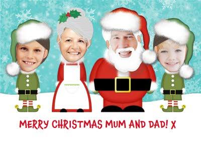 Trading Faces Santa & Family Christmas Card