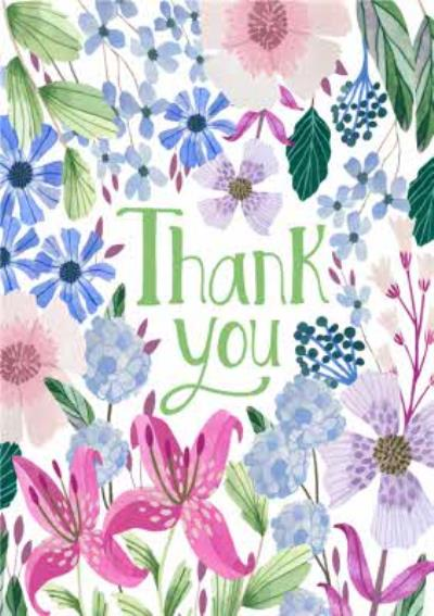 Floral Flowers Colourful Thank You Card