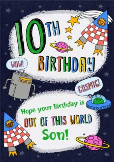 10th Birthday Spaceships Planets Out Of This World Birthday Card