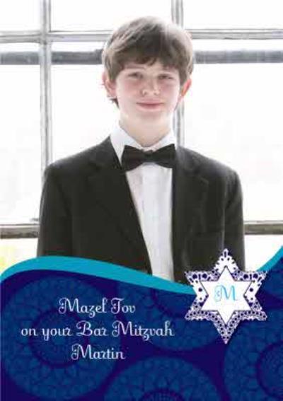 Blue Mazel Tov Personalised Photo Upload Happy Bar Mitzvah Card