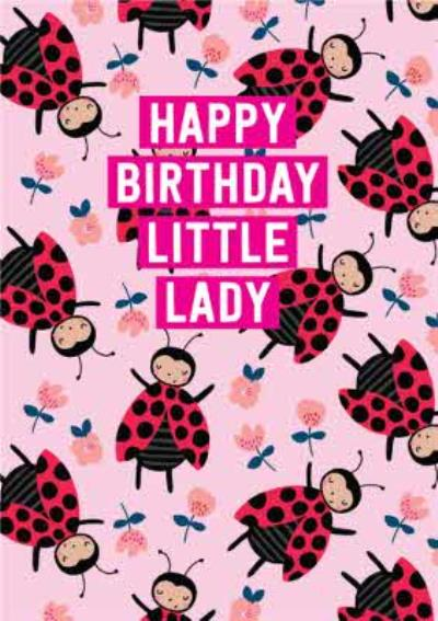 Cute Happy Birthday Little Lady Bird Flowers Card