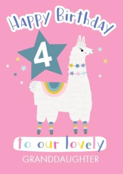 Cute Llama Illustration Personalised Granddaughter Birthday Card