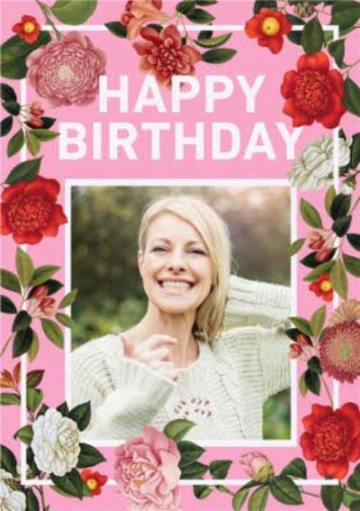 Floral birthday photo upload card