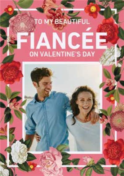 Bright Coral & Floral Border To My Fiancee Valentine's Day Photo Card