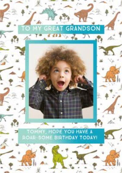 Great Grandson Dinosaur birthday photo upload card