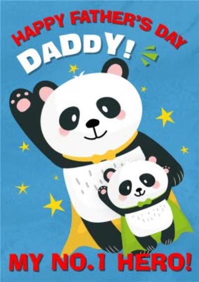 Cute Illustration Pandas Happy Fathers Day Daddy My No1 Hero