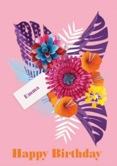 Bright Pink Tropical Flowers Personalised Happy Birthday Card