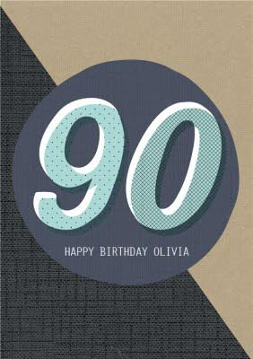 Personalised Text 90Th Birthday Card