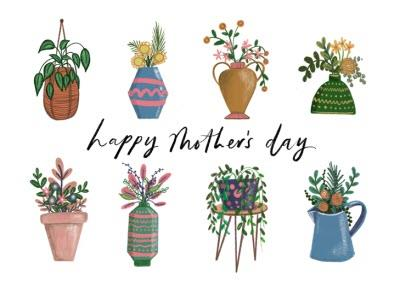 Happy Mothers Day Plants House Plants Floral Mothers Day Card