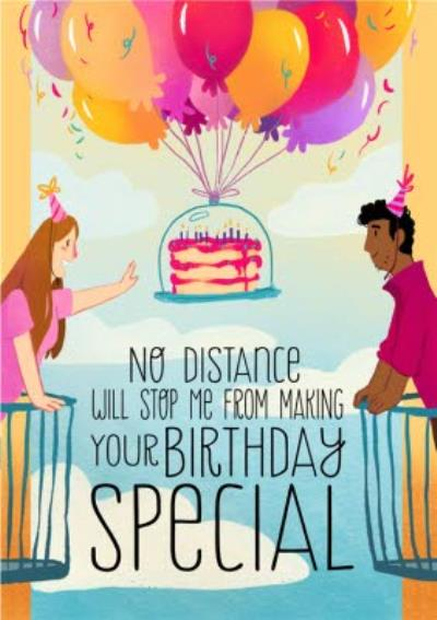 No Distance Will Stop Me Illustrated Trendy Birthday Card