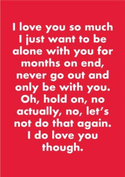 Objectables Funny I Just Want To Be Alone With You Anniversary Card