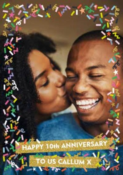 Colourful Confetti Photo Upload 10th Anniversary Card