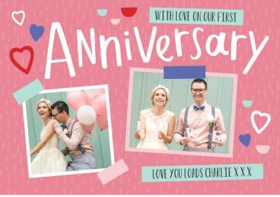 Personalised First Anniversary Card - Photo Upload Card
