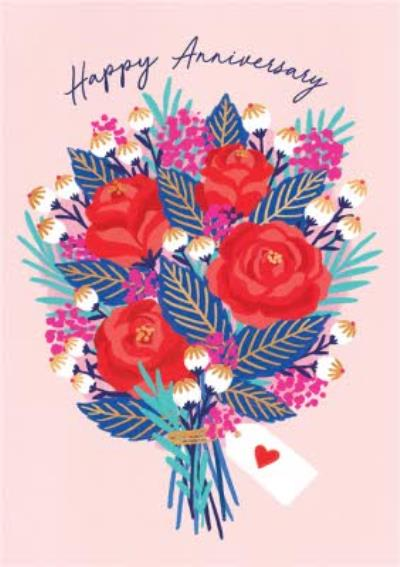 Modern Vibrant Bouquet Of Flowers Anniversary Card