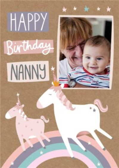 Happy Birthday Nanny - Photo upload Unicorn card
