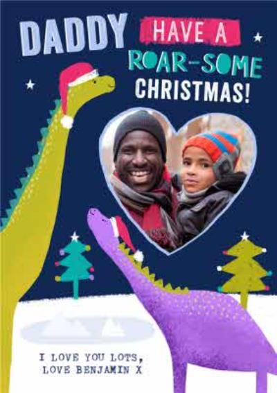Roarsome Dinosaur Daddy Photo Upload Christmas card from the kids
