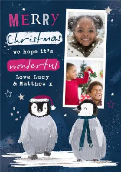 Cute From the kids Penguin Photo Upload Christmas card
