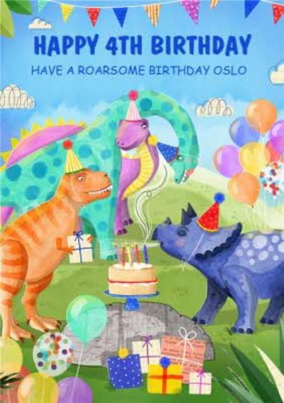 Okey Dokey Illustrated Dinosaurs Roarsome Birthday Card