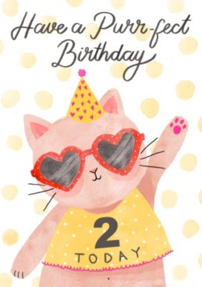 Okey Dokey Illustrated Cat 2 Today Have a Purrfect Birthday Card