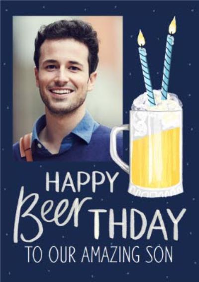 Okey Dokey Cute Illustrated Beer Photo Upload Amazing Son Birthday Card