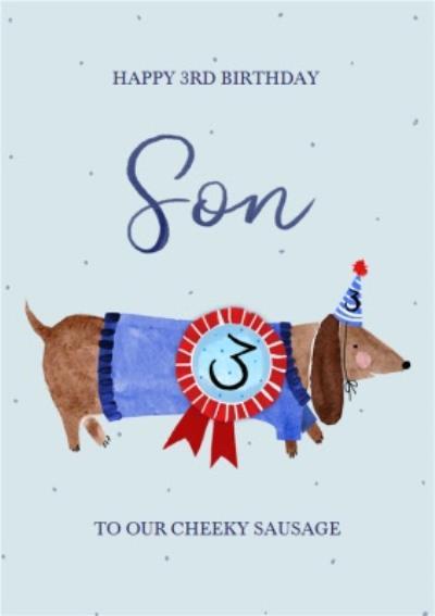 Okey Dokey Illustrated Dog Son 3rd Birthday Card