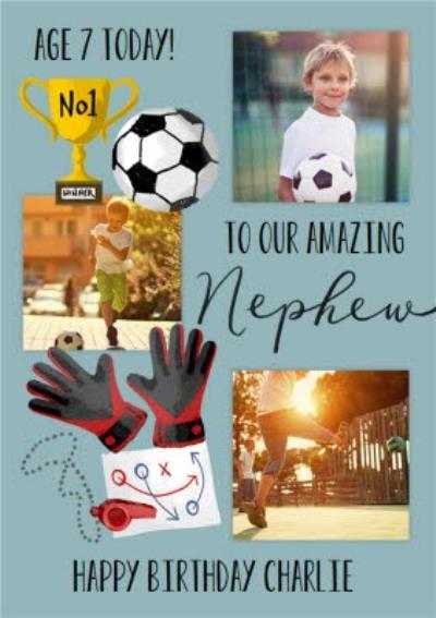 Okey Dokey Illustrated Sport Football Amazing Nephew 7th Birthday Photo Upload Card