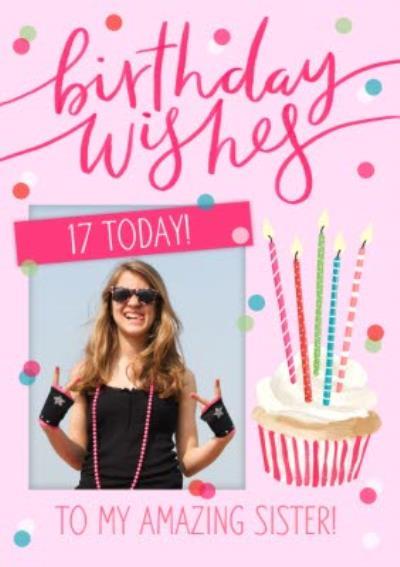 Okey Dokey Cute Cupcake Illustration Amazing Sister Photo Upload Birthday Card