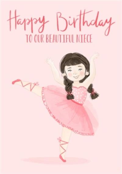 Okey Dokey Design Cute Ballerina Illustration Beautiful Niece Birthday Card
