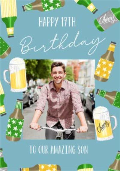 Beer Illustrations Photo Upload Amazing Son Birthday Card