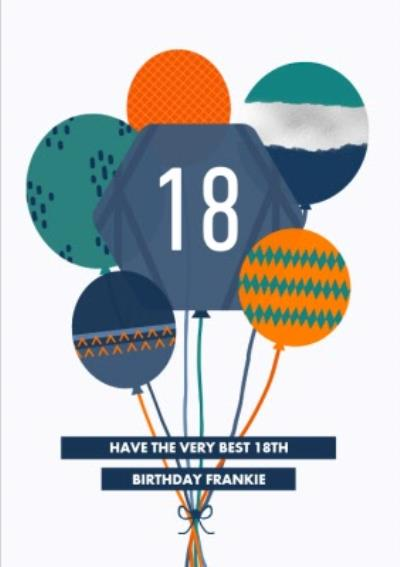 Patterened Balloons Very Best 18th Birthday Card