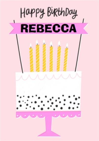 Happy Birthday Cake Bright Graphic Birthday Card
